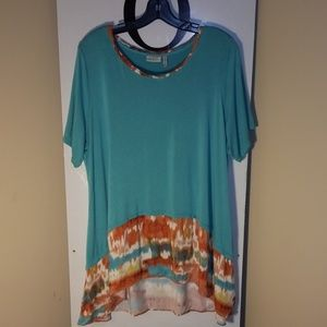 LoGO Lori Goldstein Teal Tunic Top